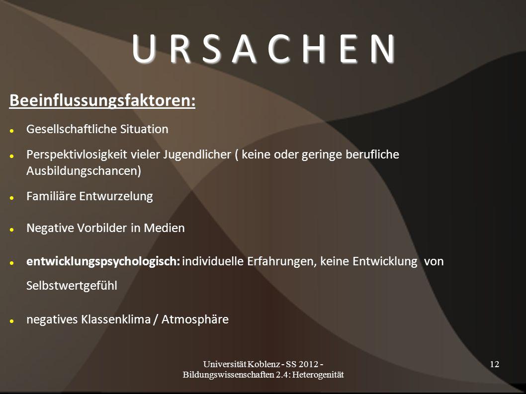 U R S A C H E N Beeinflussungsfaktoren: Gesellschaftliche Situation