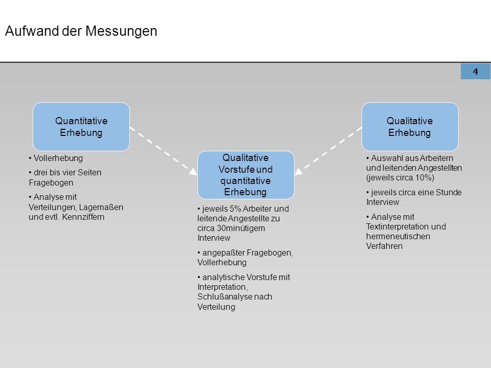 Aufwand der Messungen Quantitative Erhebung Qualitative Erhebung