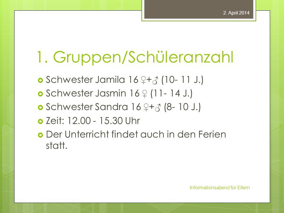 1. Gruppen/Schüleranzahl