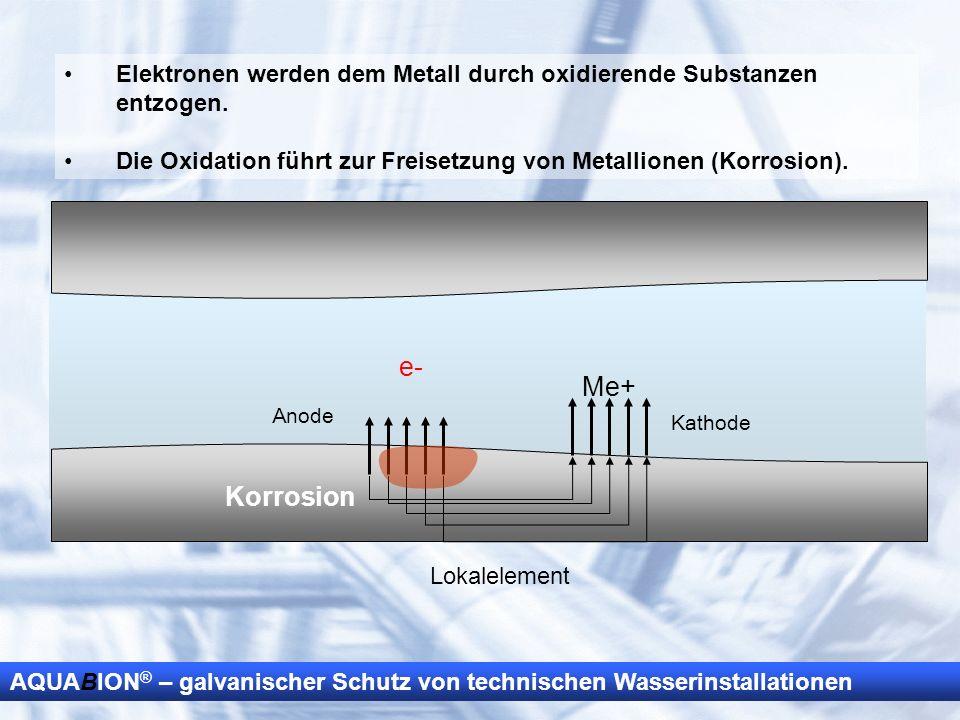 Elektronen werden dem Metall durch oxidierende Substanzen entzogen.