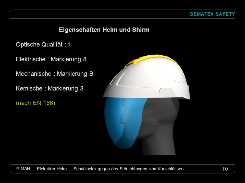 Eigenschaften Helm und Shirm
