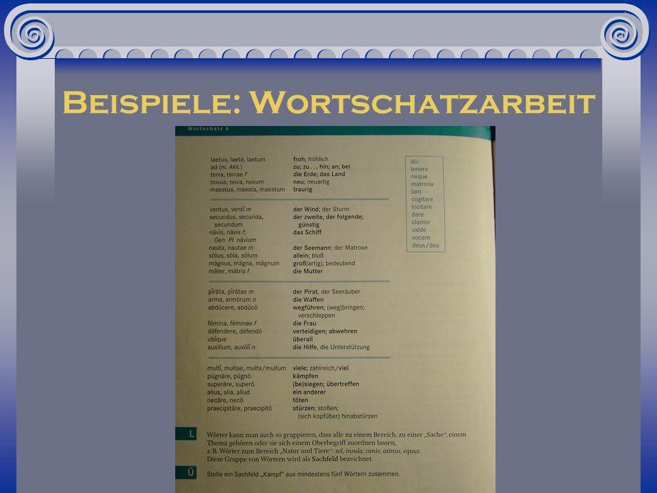 Beispiele: Wortschatzarbeit
