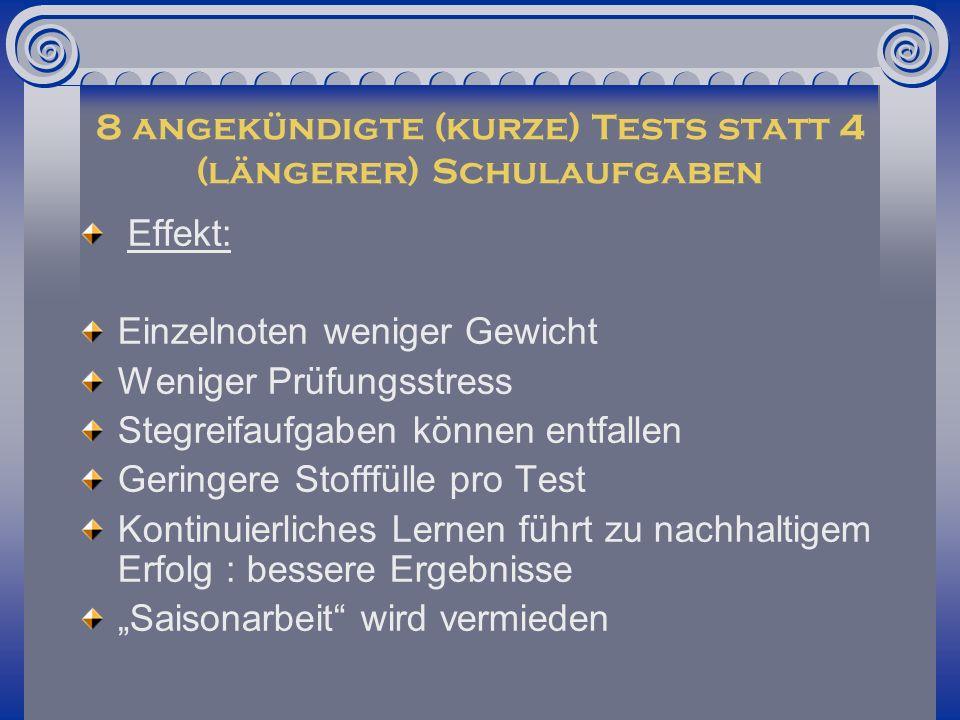 8 angekündigte (kurze) Tests statt 4 (längerer) Schulaufgaben