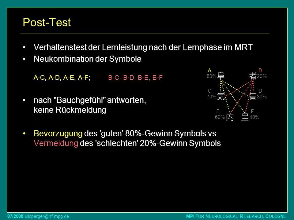 Post-Test Verhaltenstest der Lernleistung nach der Lernphase im MRT