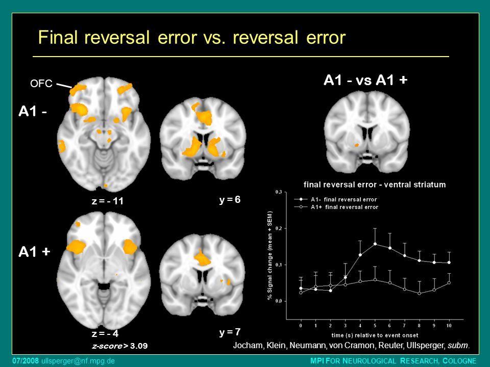 Final reversal error vs. reversal error