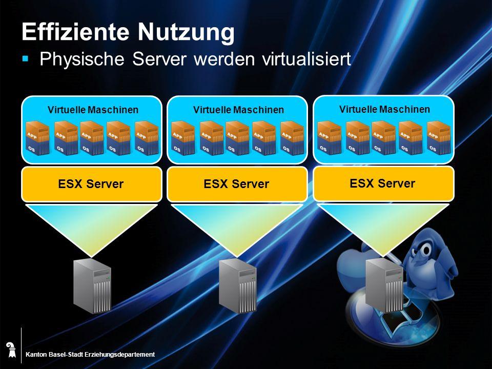 Effiziente Nutzung Physische Server werden virtualisiert ESX Server