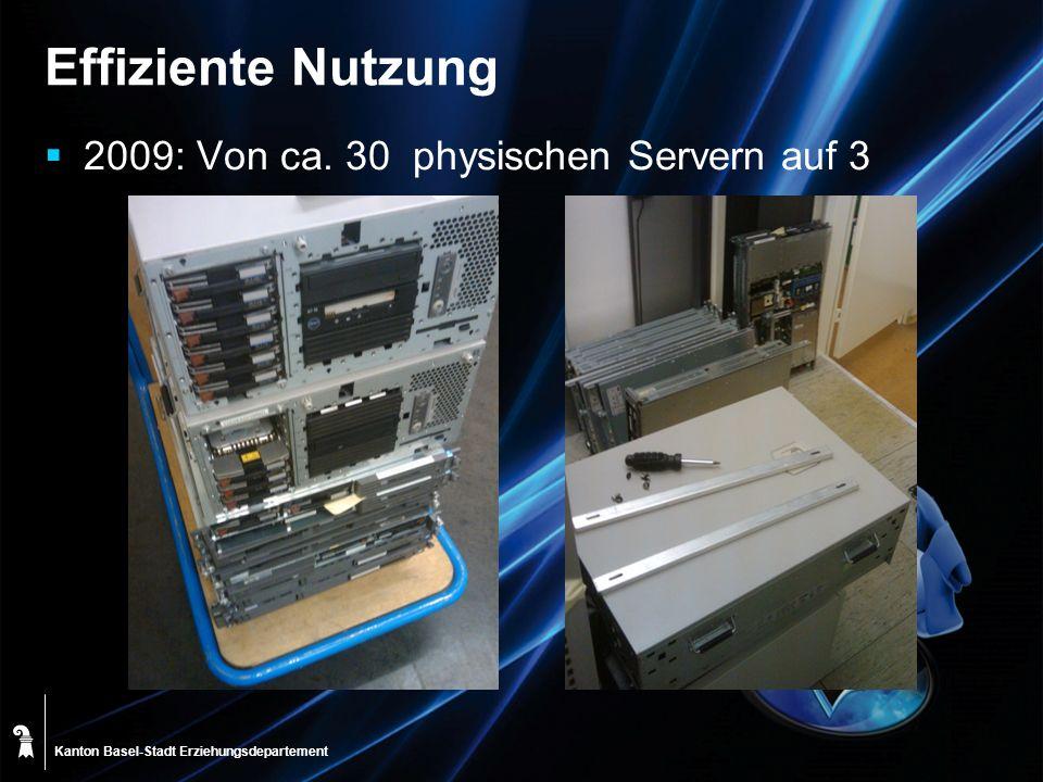 Effiziente Nutzung 2009: Von ca. 30 physischen Servern auf 3