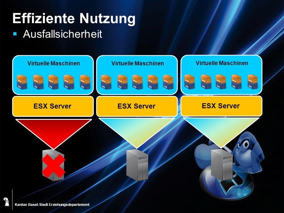 Effiziente Nutzung Ausfallsicherheit ESX Server ESX Server ESX Server