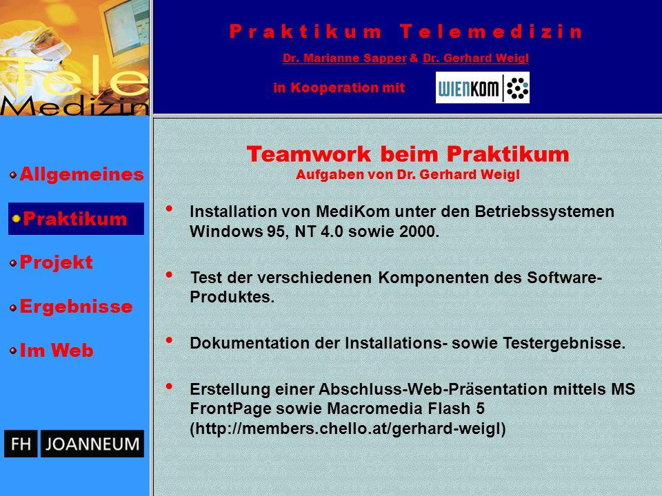 Teamwork beim Praktikum Aufgaben von Dr. Gerhard Weigl