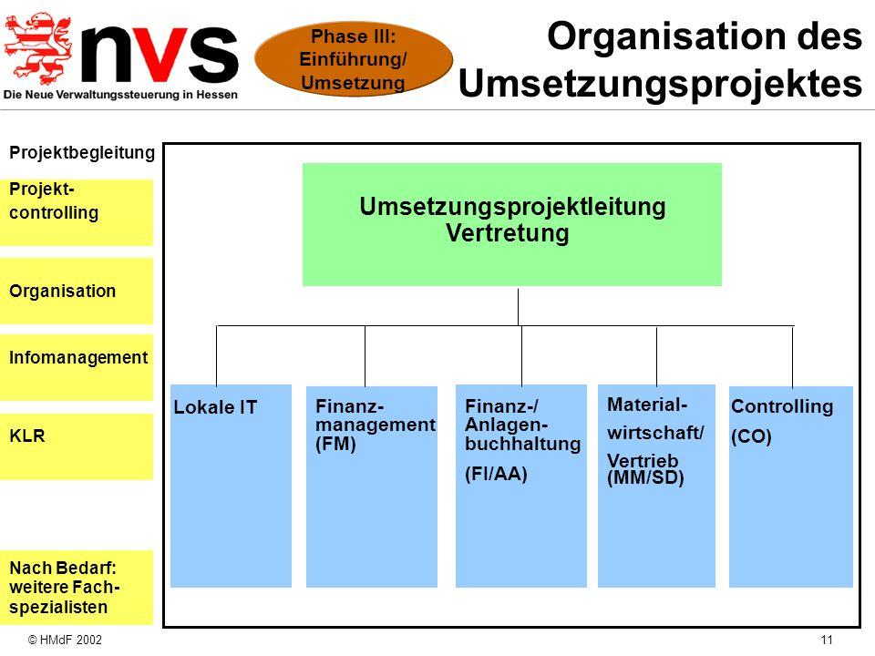 Organisation des Umsetzungsprojektes
