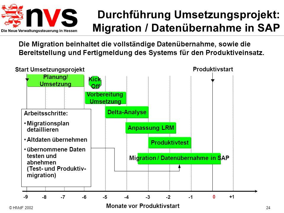 Durchführung Umsetzungsprojekt: Migration / Datenübernahme in SAP