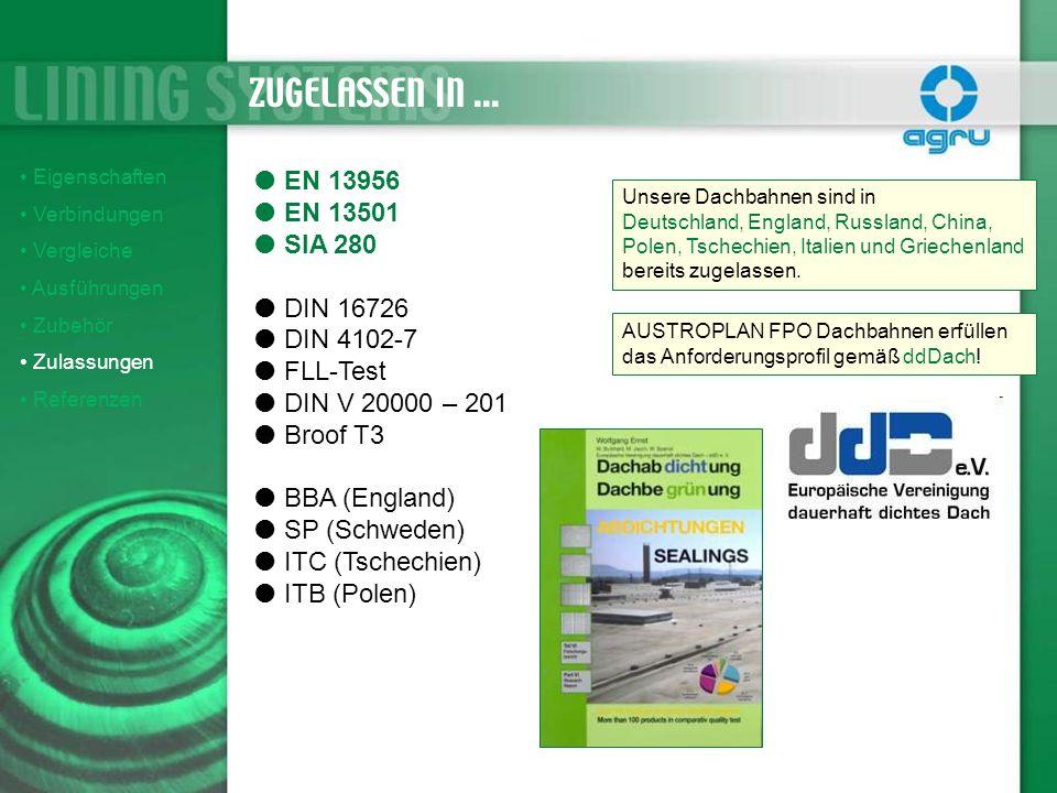 ZUGELASSEN IN ... EN 13956 EN 13501 SIA 280 DIN 16726 DIN 4102-7