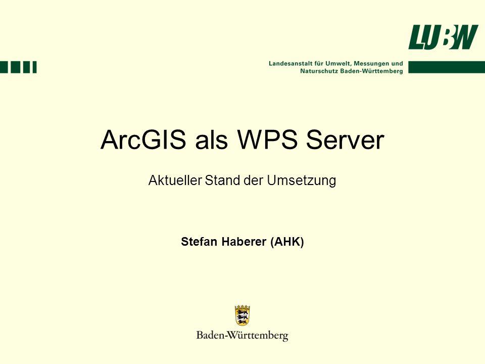 ArcGIS als WPS Server Aktueller Stand der Umsetzung