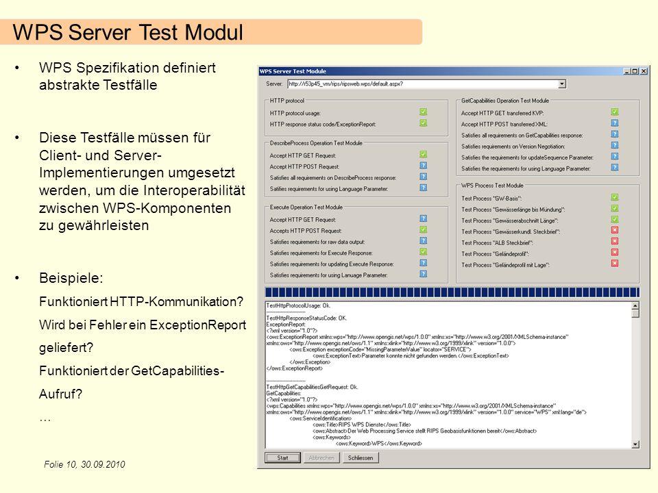 WPS Server Test Modul WPS Spezifikation definiert abstrakte Testfälle