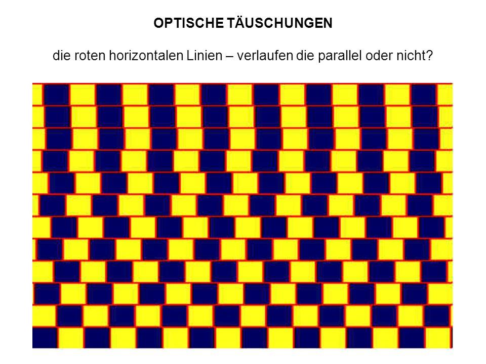 OPTISCHE TÄUSCHUNGEN die roten horizontalen Linien – verlaufen die parallel oder nicht