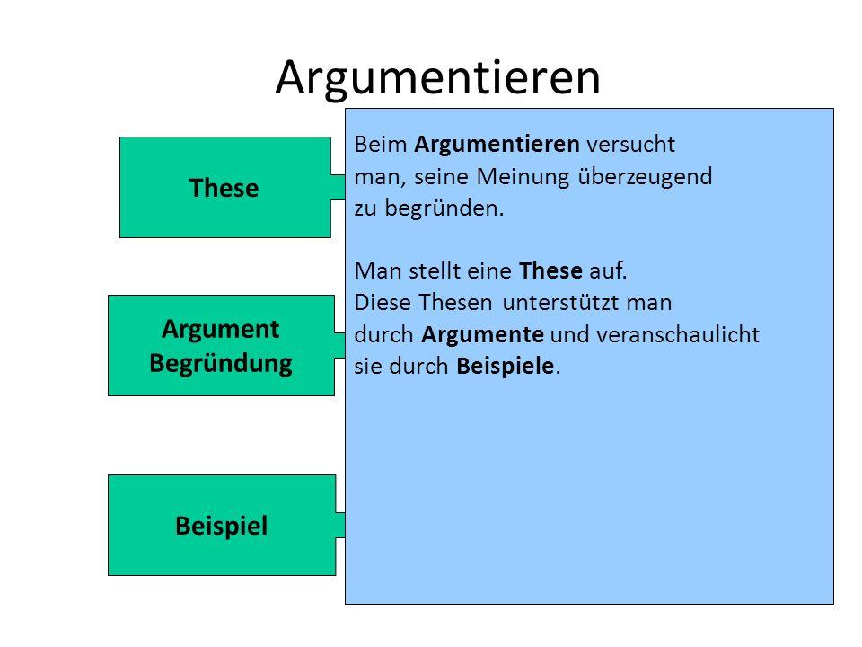 Argumentieren These Argument Begründung Beispiel