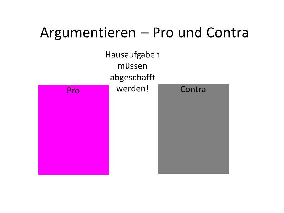 Argumentieren – Pro und Contra
