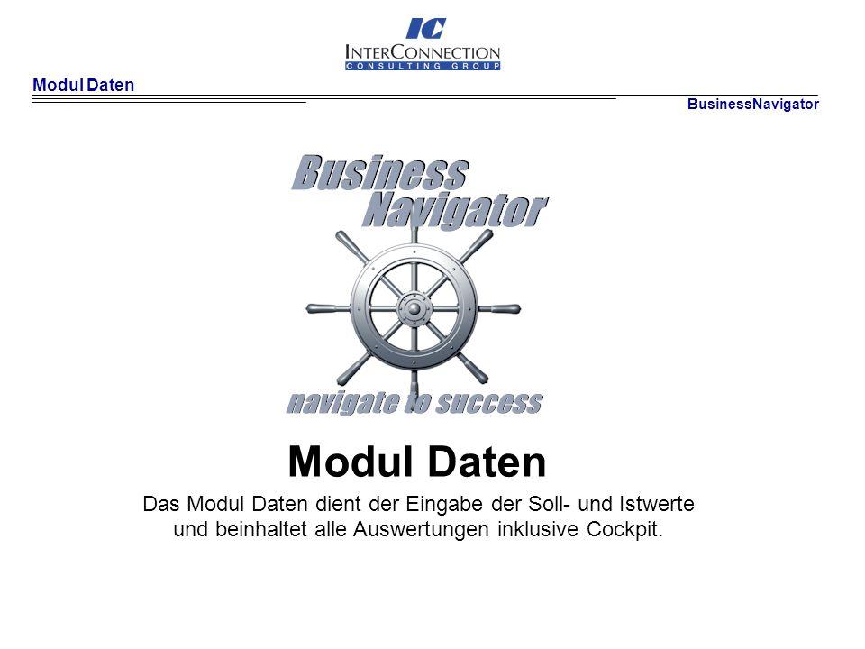 Modul Daten Das Modul Daten dient der Eingabe der Soll- und Istwerte
