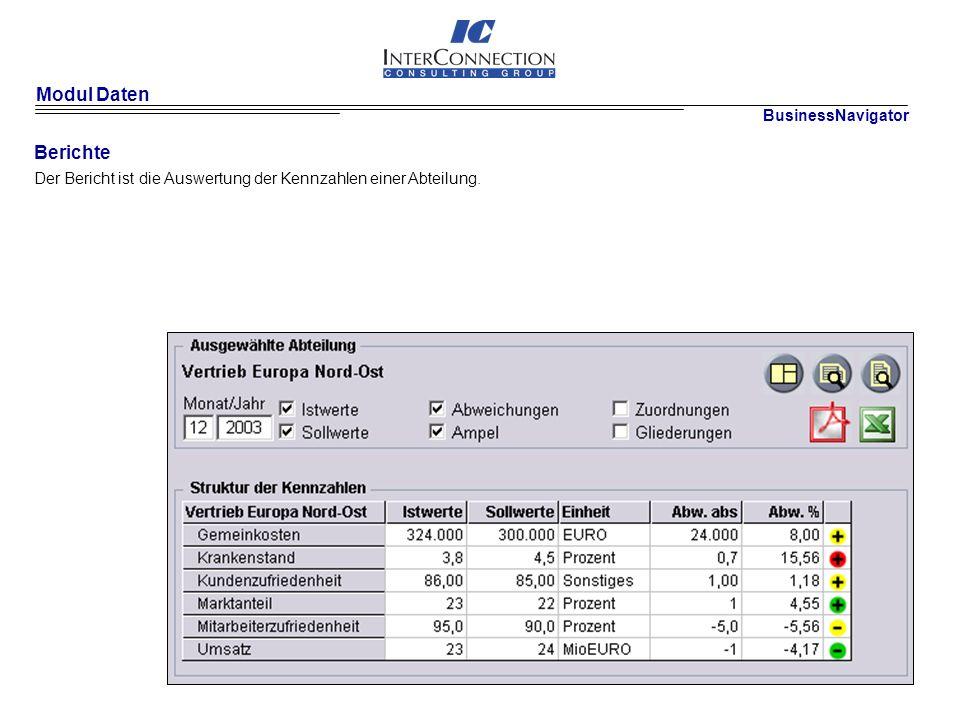 Modul Daten Berichte BusinessNavigator