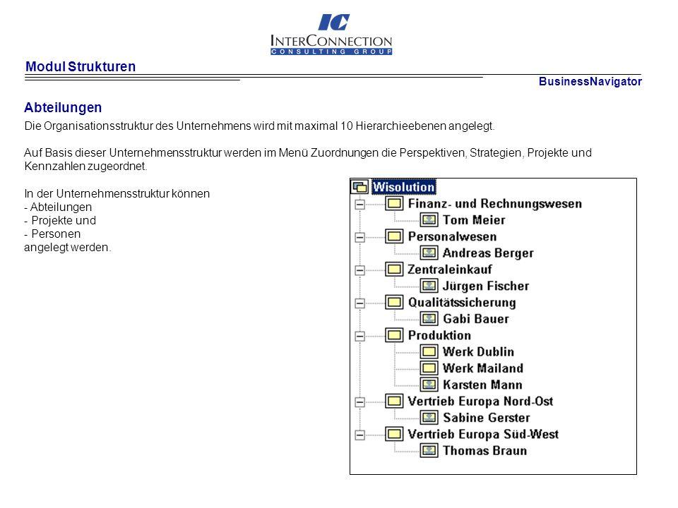Modul Strukturen Abteilungen BusinessNavigator