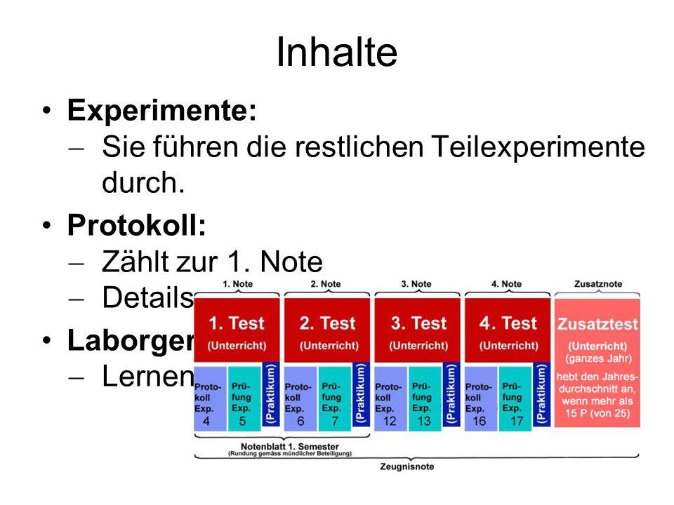 Inhalte Experimente: Sie führen die restlichen Teilexperimente durch.