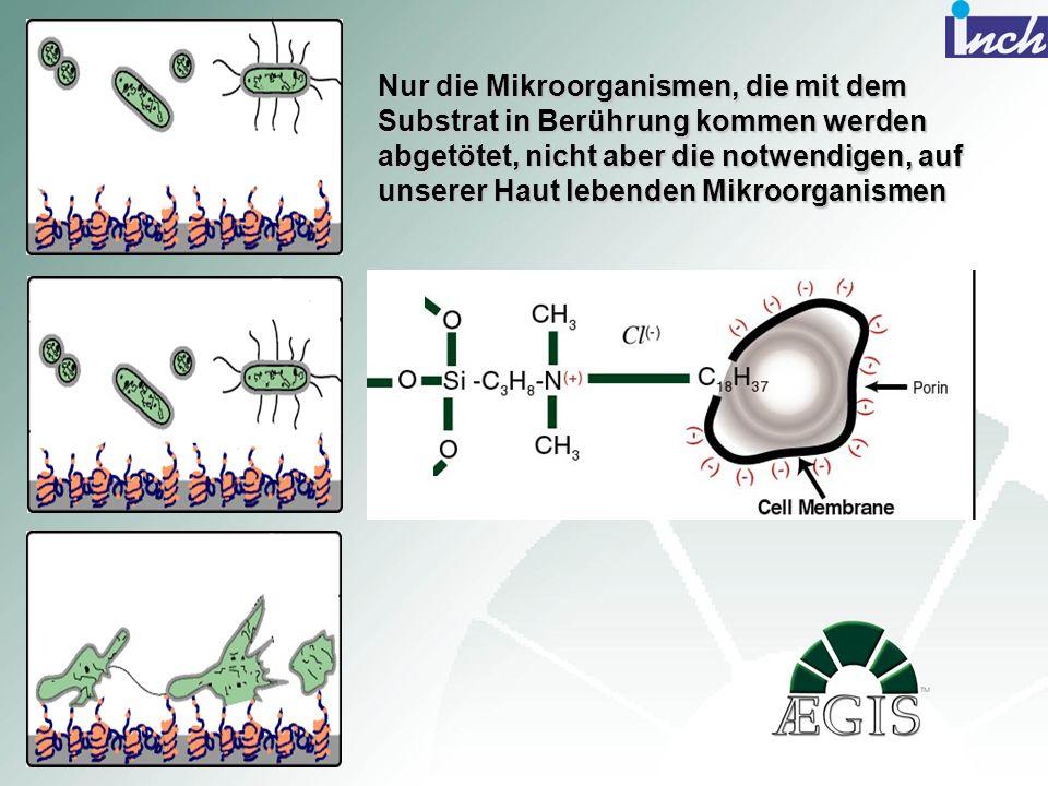 Nur die Mikroorganismen, die mit dem Substrat in Berührung kommen werden abgetötet, nicht aber die notwendigen, auf unserer Haut lebenden Mikroorganismen