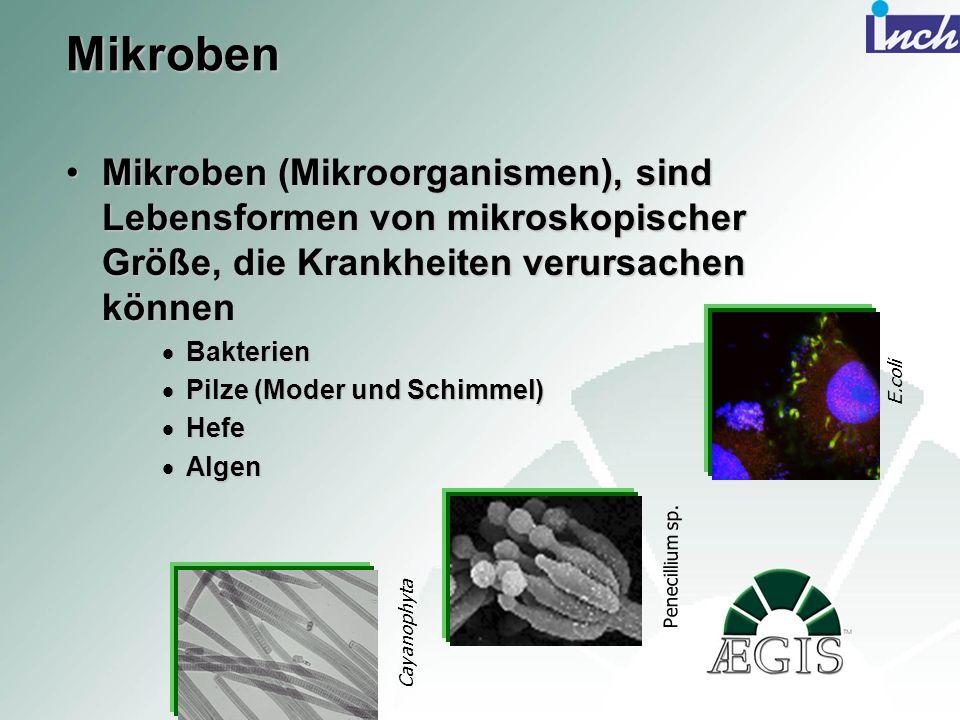 Mikroben Mikroben (Mikroorganismen), sind Lebensformen von mikroskopischer Größe, die Krankheiten verursachen können.