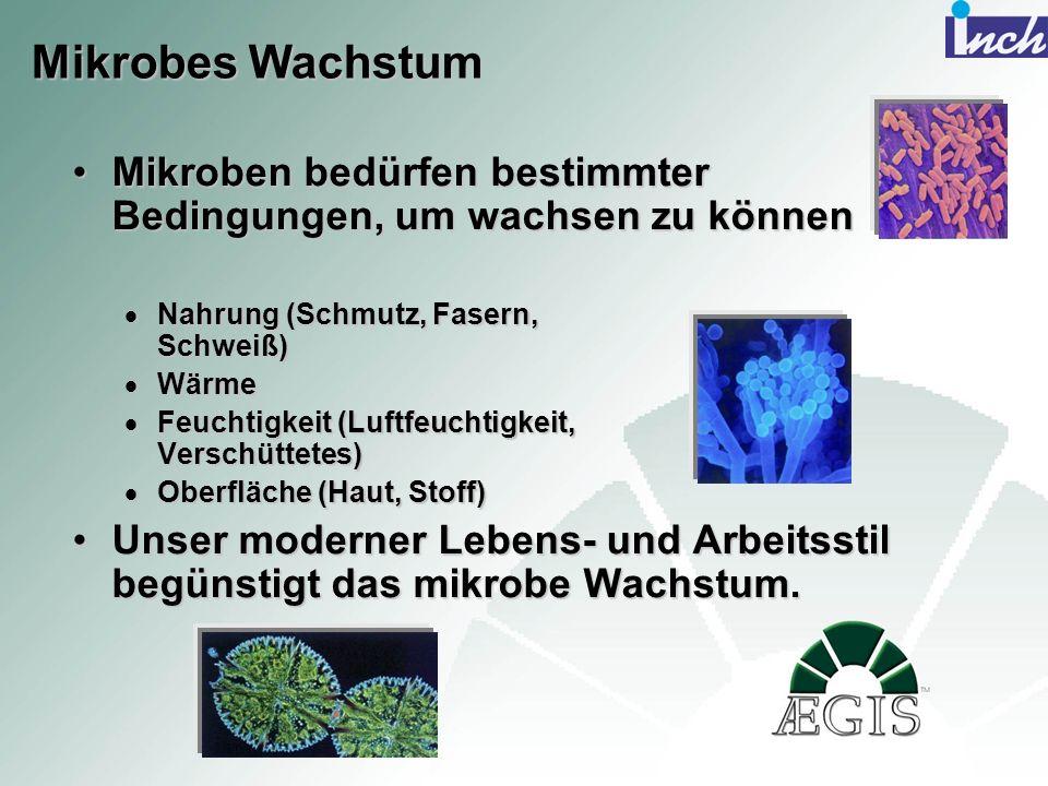 Mikrobes Wachstum Mikroben bedürfen bestimmter Bedingungen, um wachsen zu können. Nahrung (Schmutz, Fasern, Schweiß)