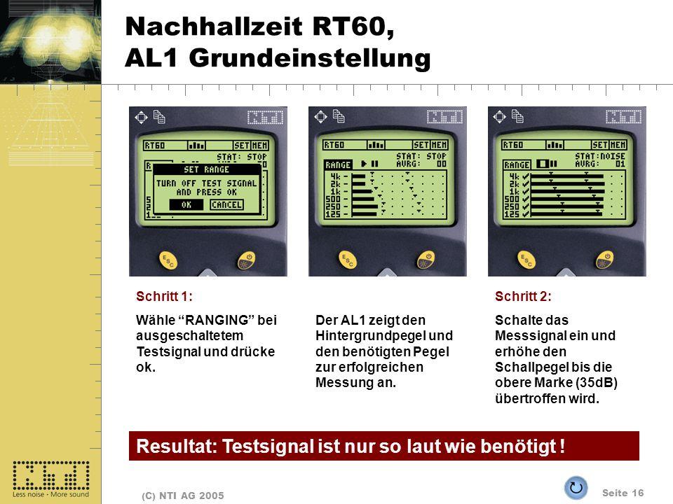 Nachhallzeit RT60, AL1 Grundeinstellung