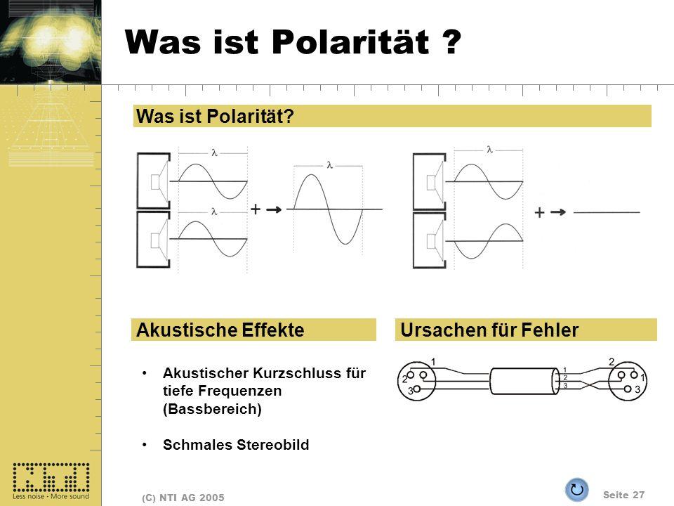 Was ist Polarität Was ist Polarität Akustische Effekte