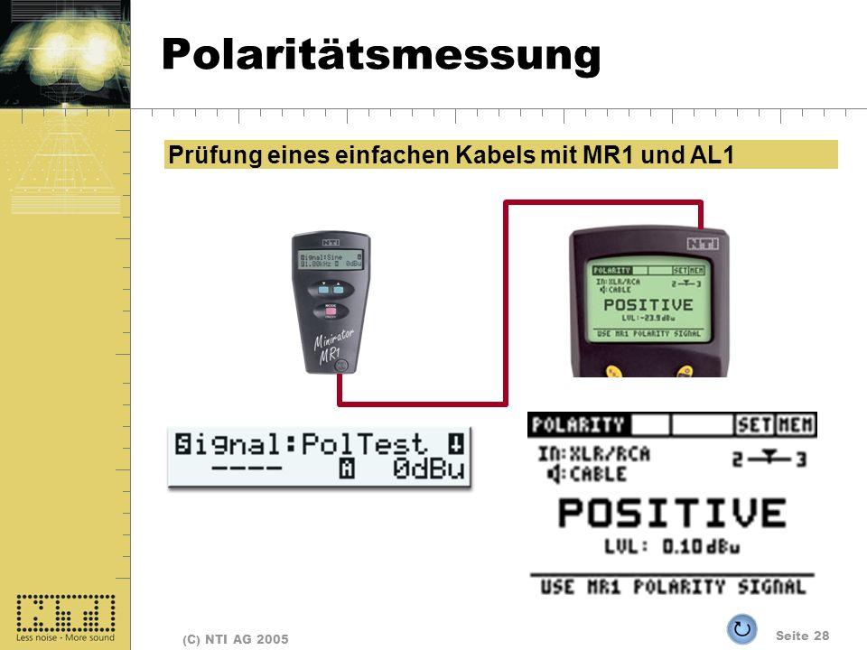 Polaritätsmessung Prüfung eines einfachen Kabels mit MR1 und AL1