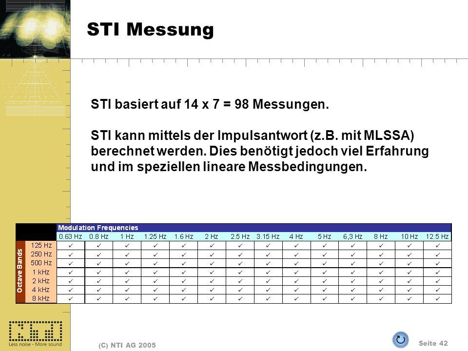 STI Messung STI basiert auf 14 x 7 = 98 Messungen.