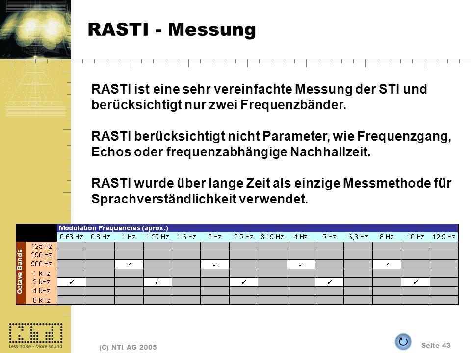 RASTI - Messung RASTI ist eine sehr vereinfachte Messung der STI und berücksichtigt nur zwei Frequenzbänder.