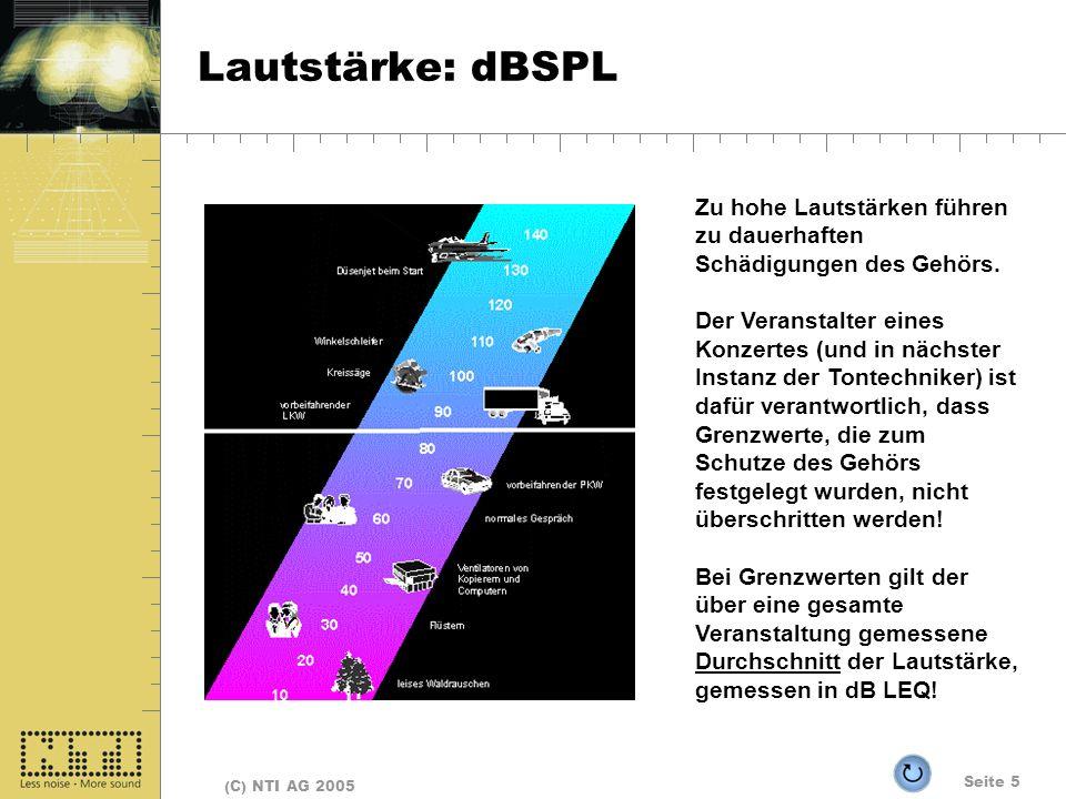 Lautstärke: dBSPL Zu hohe Lautstärken führen zu dauerhaften Schädigungen des Gehörs.