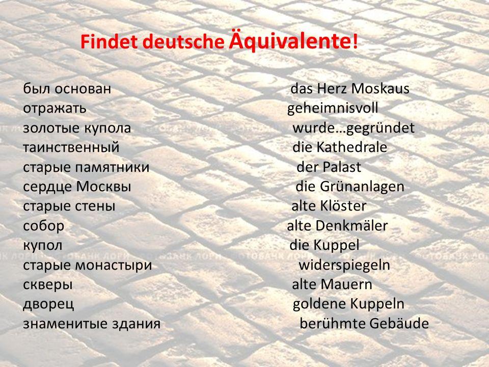 Findet deutsche Äquivalente!