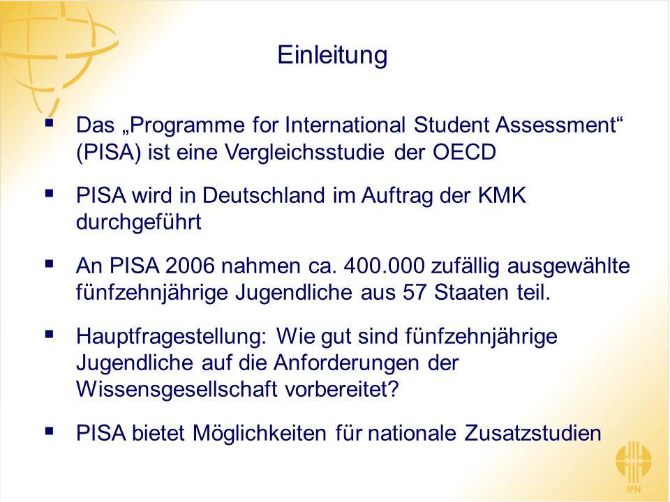 """Einleitung Das """"Programme for International Student Assessment (PISA) ist eine Vergleichsstudie der OECD."""