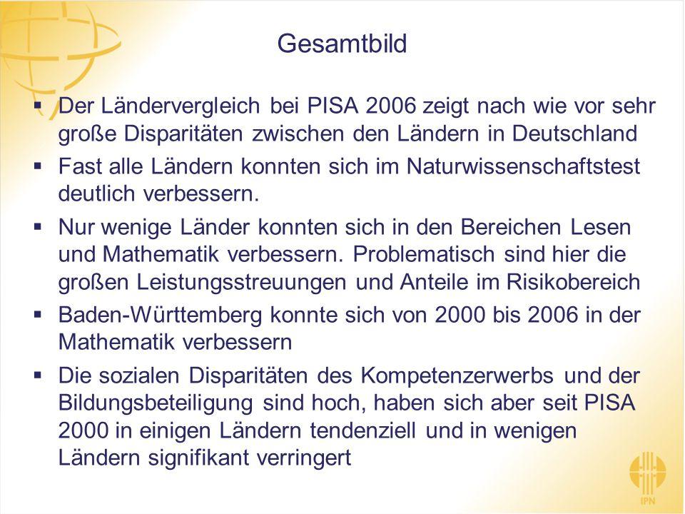 Gesamtbild Der Ländervergleich bei PISA 2006 zeigt nach wie vor sehr große Disparitäten zwischen den Ländern in Deutschland.