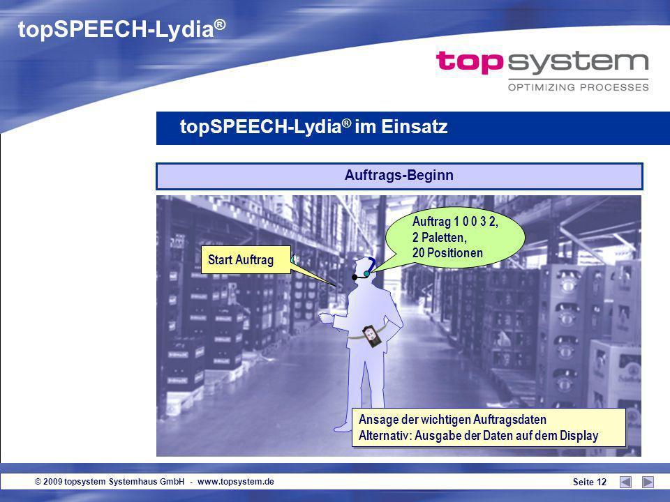 topSPEECH-Lydia® topSPEECH-Lydia® im Einsatz Auftrags-Beginn