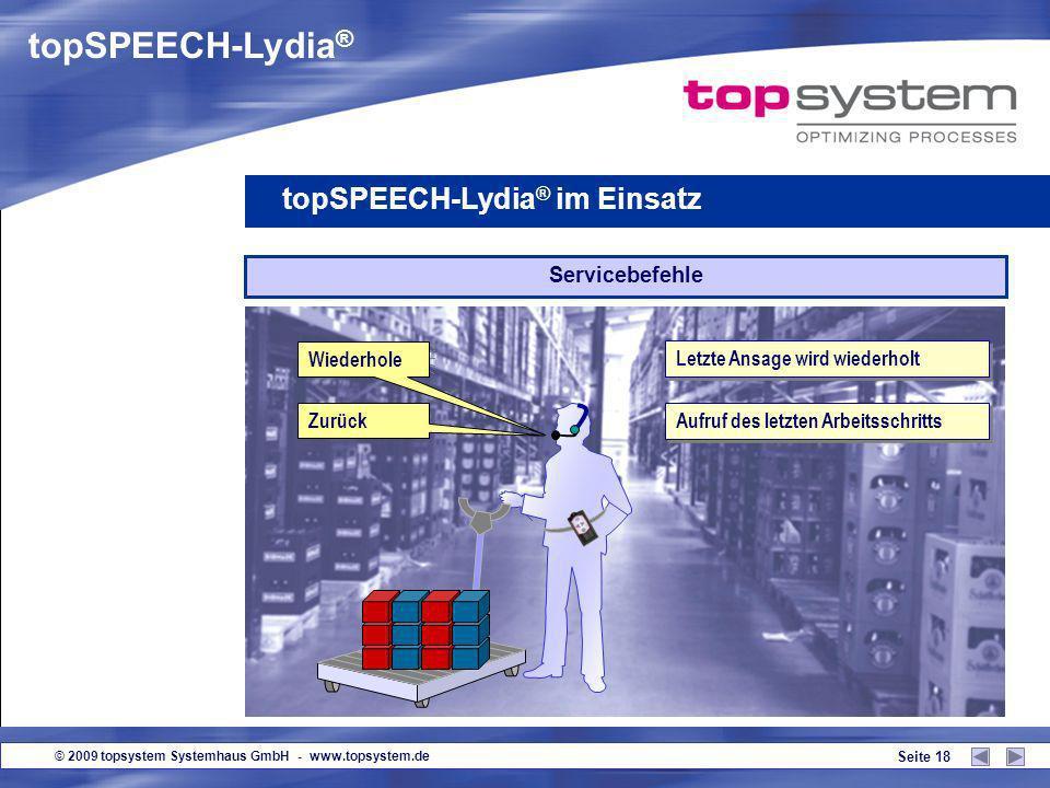 topSPEECH-Lydia® topSPEECH-Lydia® im Einsatz Servicebefehle Wiederhole