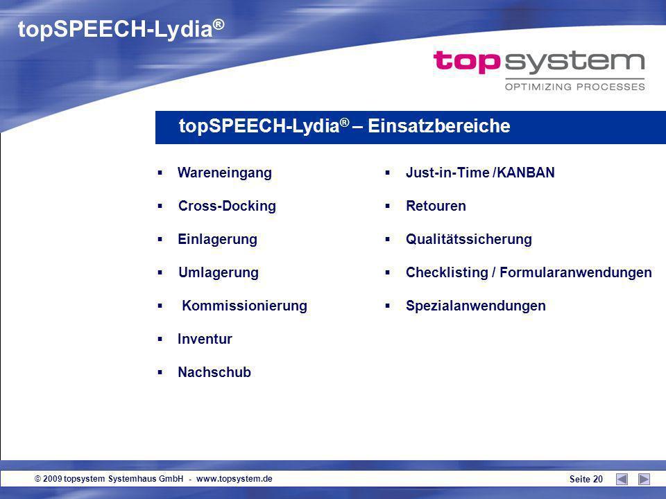 topSPEECH-Lydia® topSPEECH-Lydia® – Einsatzbereiche Wareneingang