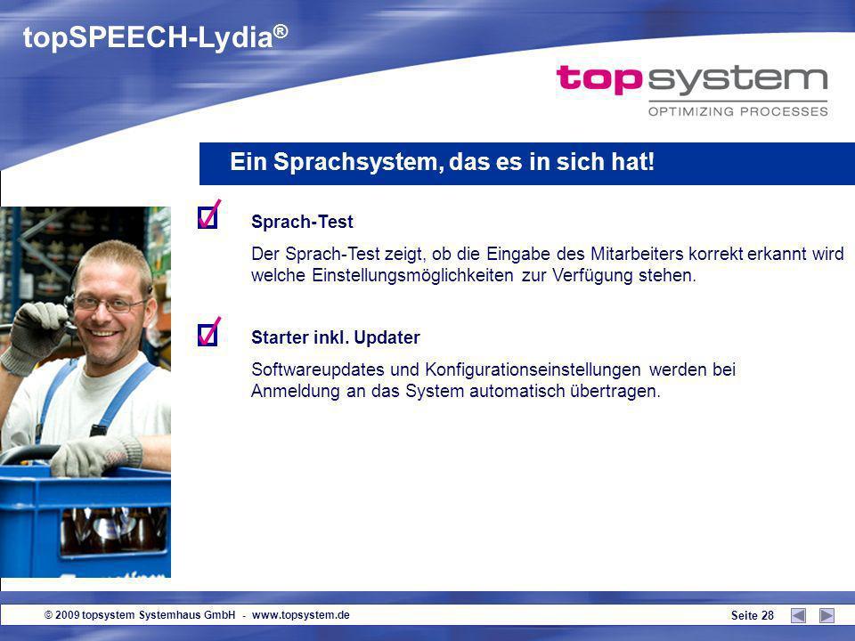 topSPEECH-Lydia® Ein Sprachsystem, das es in sich hat! Sprach-Test