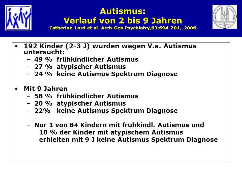 Autismus: Verlauf von 2 bis 9 Jahren Catherine Lord et al