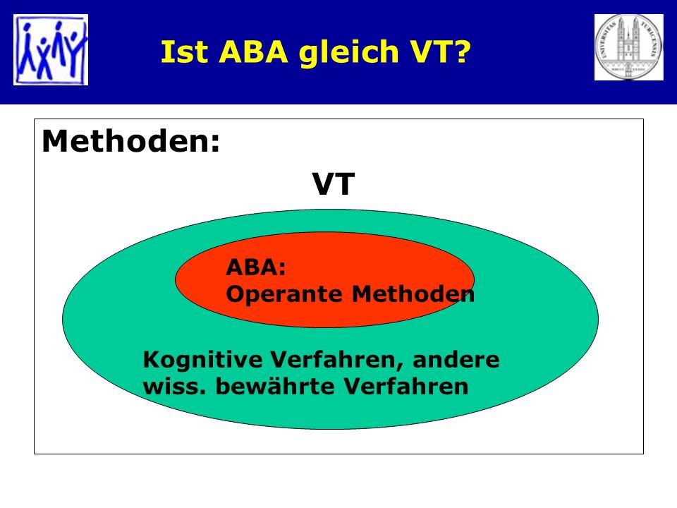 Ist ABA gleich VT Methoden: VT ABA: Operante Methoden