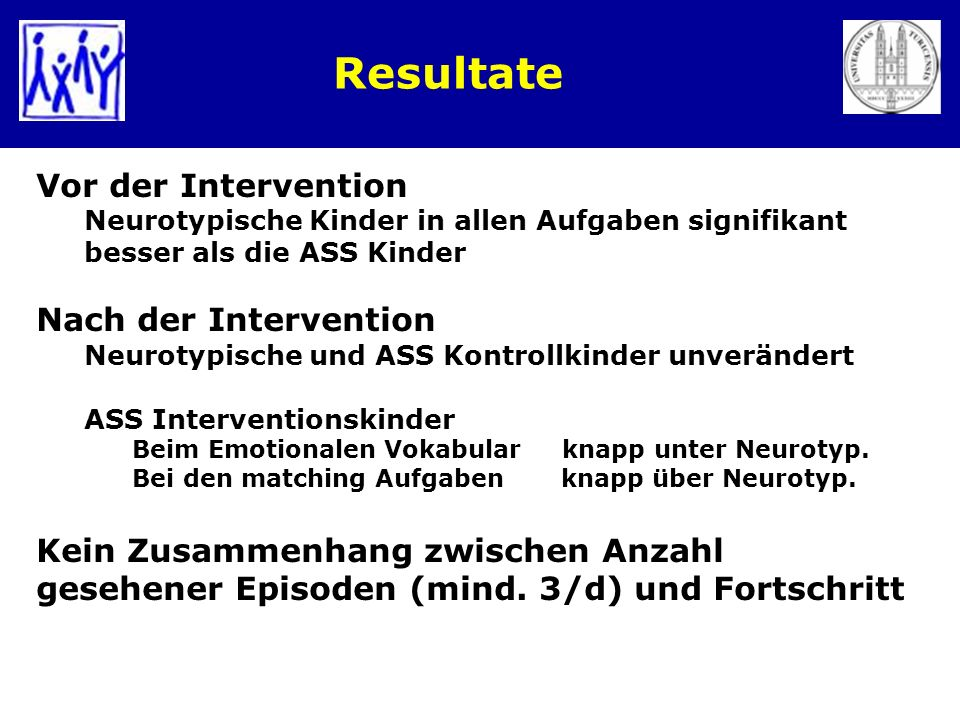 Resultate Vor der Intervention Nach der Intervention