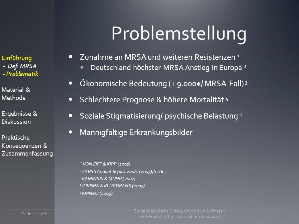 Problemstellung Zunahme an MRSA und weiteren Resistenzen 1