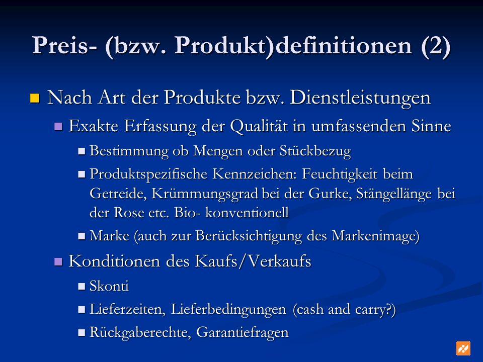 Preis- (bzw. Produkt)definitionen (2)