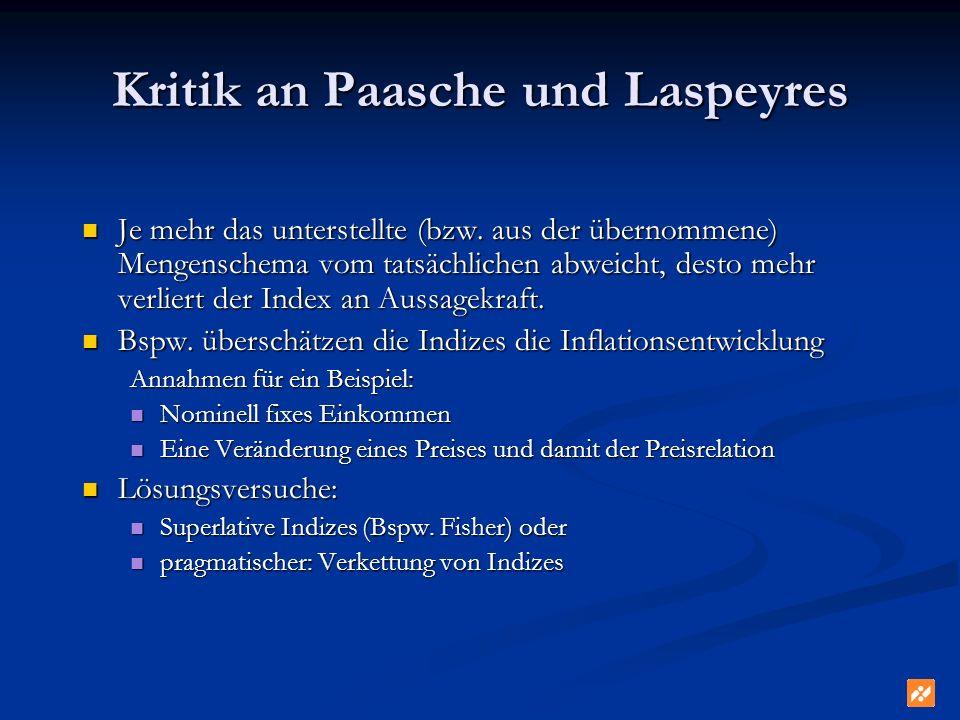 Kritik an Paasche und Laspeyres