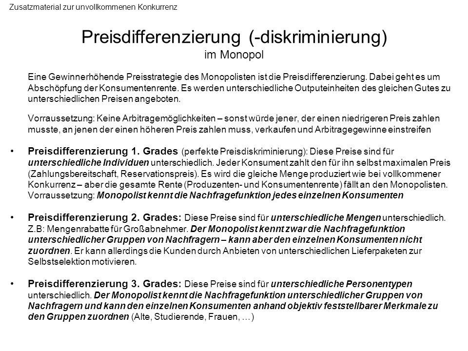 Preisdifferenzierung (-diskriminierung) im Monopol