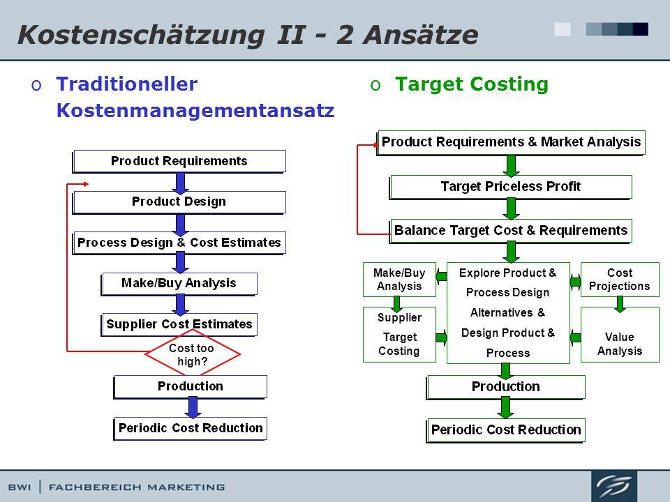 Kostenschätzung II - 2 Ansätze