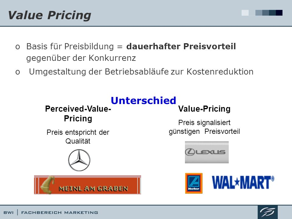 Value Pricing Unterschied